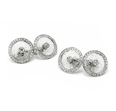 A Pair of Rock Crystal and Diamond Cufflinks, by Cartier, circa 1910