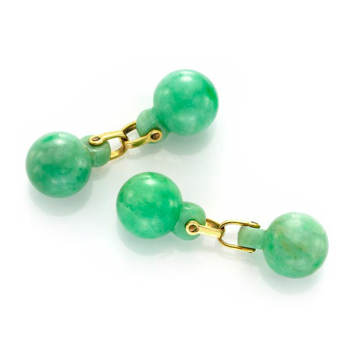 A Pair of Jade and Gold Cufflinks