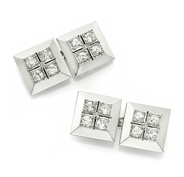 A Pair of Art Deco Diamond and Platinum Cufflinks
