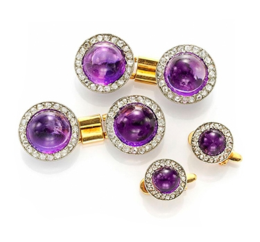 An Antique Cabochon Amethyst And Diamond Dress Set, 19th Century
