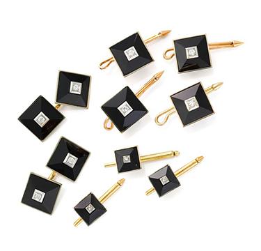 An Onyx, Diamond and Gold Dress-set