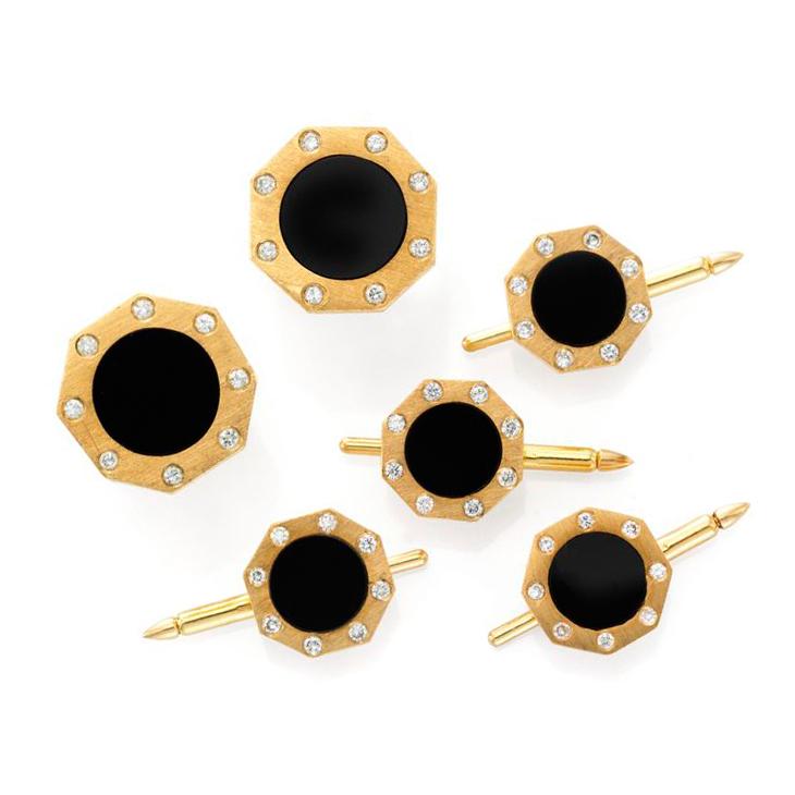 An Onyx, Diamond and Brushed Gold Dress-set