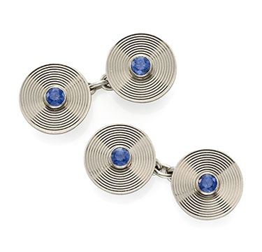 A Pair of Sapphire and Platinum Cufflinks, by Cartier