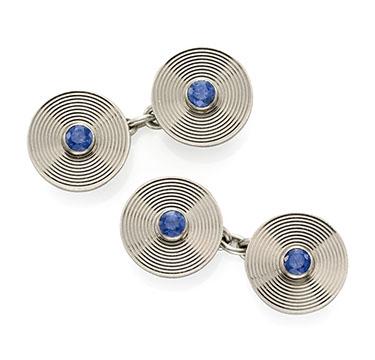 A Pair of Sapphire and Platinum Cufflinks, by Cartier