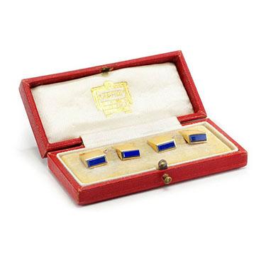 A set of Gold and Lapis Lazuli Cufflinks, by Cartier, circa 1930