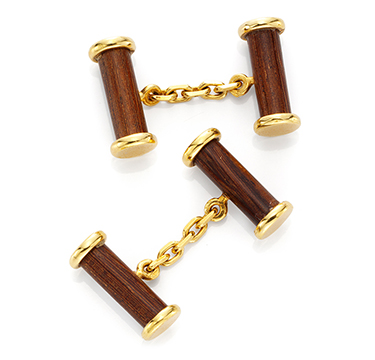 A Pair of Wood and Gold Cufflinks