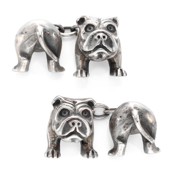 A Pair of Silver Bulldog Cufflinks