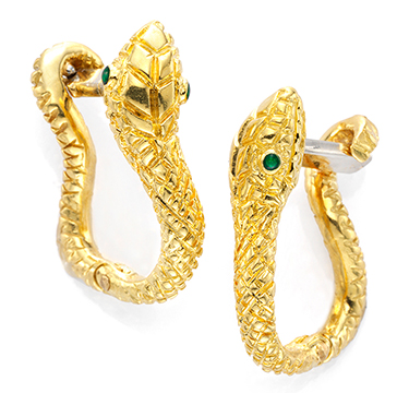 A Pair Emerald and Gold Snake Cufflinks, by Aldo Cipullo