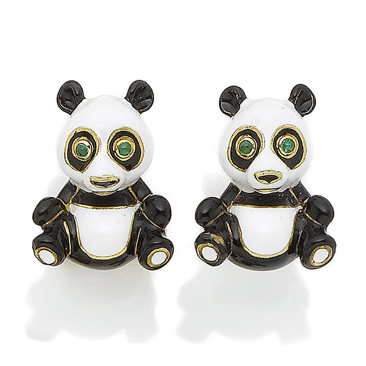 A Pair of Enamel Panda Cufflinks, by David Webb