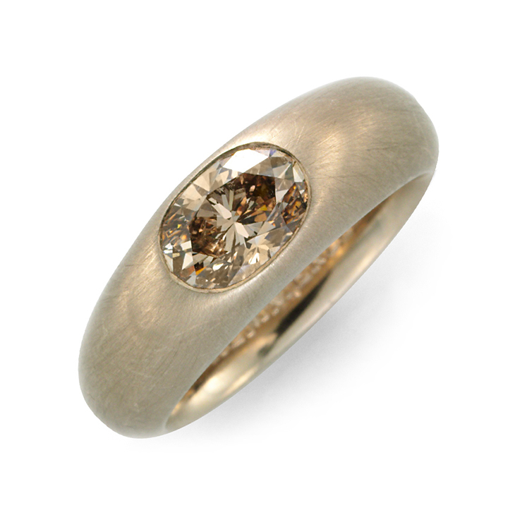 A Colored Diamond and Brushed Gold Ring, by Hemmerle