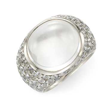 A Moonstone and White Sapphire Ring, by Hemmerle