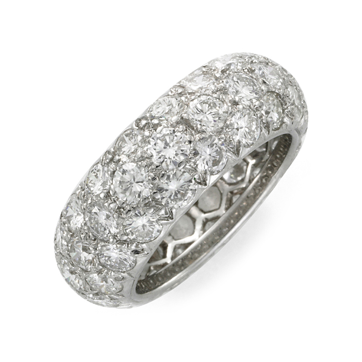 A Pave-Diamond and Platinum Band Ring, by Hemmerle