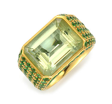 A Beryl And Tsavorite Garnet Ring, By Hemmerle