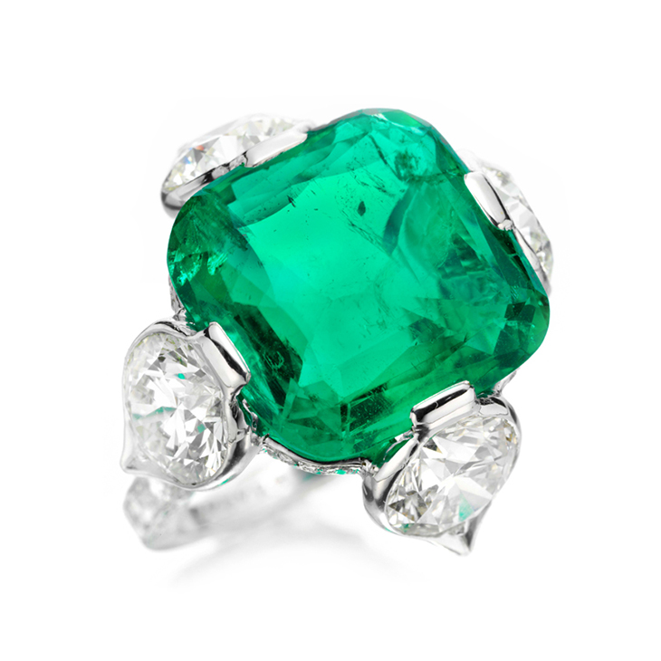 An Old Colombian Buff-top Emerald and Diamond Ring, by Bhagat