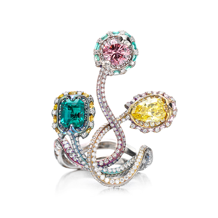 A Colored Diamond and Emerald Ring, by Wallace Chan