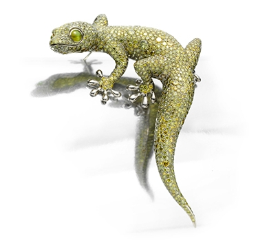 A Fancy Green Diamond, Cat Eye Chrysoberyl And White Gold 'Gecko' Brooch, By Hemmerle 1,524 Diamonds Weighing Approximately 62.16 Carats