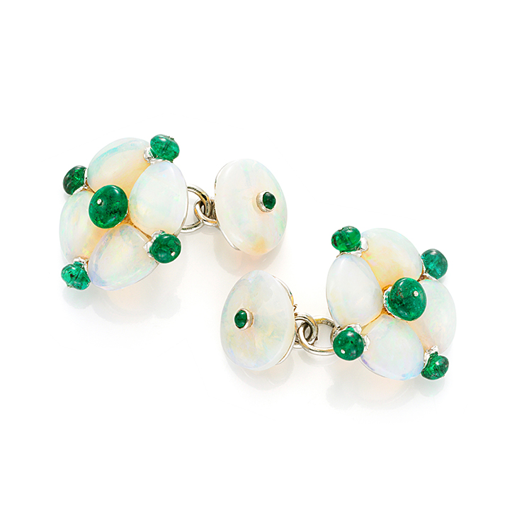 A Pair of Opal and Emerald Cufflinks, by Bhagat