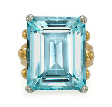 An Aquamarine and Gold Ring, by Cartier, circa 1960
