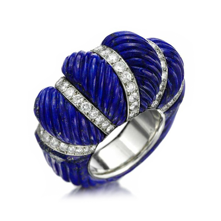 A Carved Lapis Lazuli and Diamond Ring, by Cartier, circa 1950