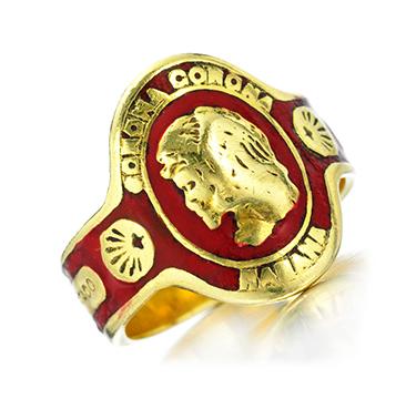 An Enamel and Gold Cuban Cigar Band Ring, by Cartier, circa 1970
