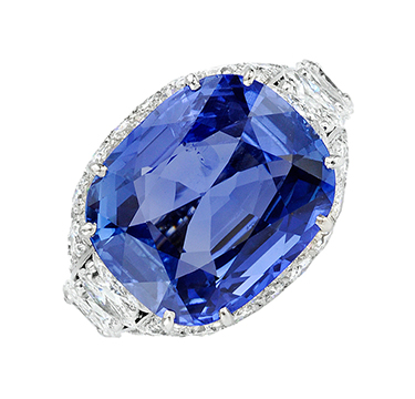 A Ceylon Sapphire and Diamond Ring, by Cartier