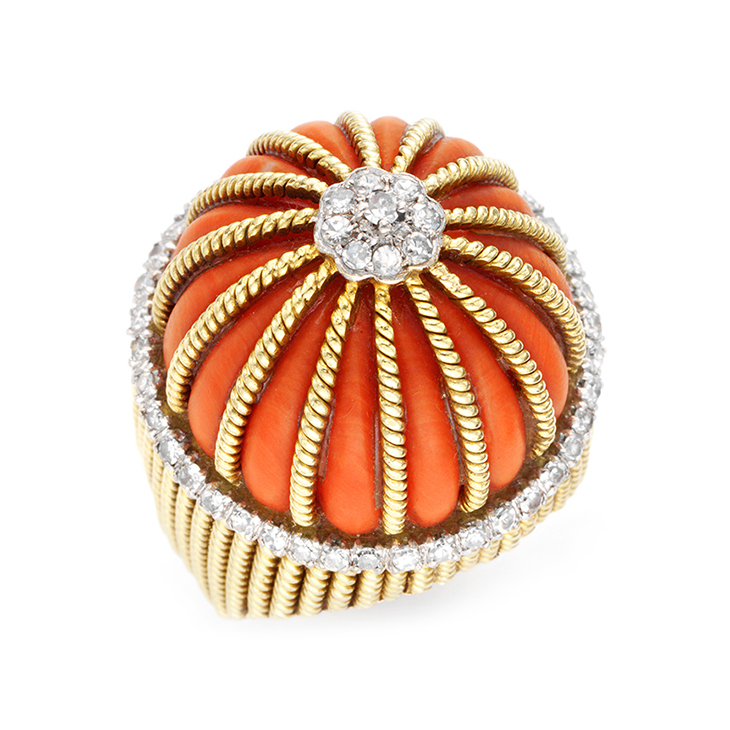 A Coral and Diamond Ring