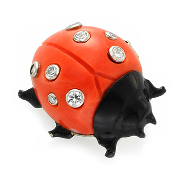 A Carved Coral, Enamel and Diamond Ladybug Brooch, by Cartier, circa 1955