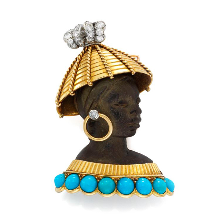 An Ebony, Turquoise and Diamond Blackamoor Brooch, by Cartier, circa 1950