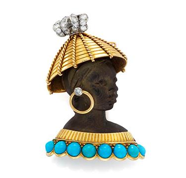 An Ebony, Turquoise and Diamond Blackamoor Brooch, by Cartier, circa 1950