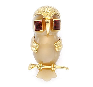 A Garnet, Agate And Gold Owl Brooch, By Cartier, Circa 1960