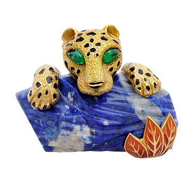 A Multi-gem and Lapis Lazuli Panther Brooch, by Cartier, circa 1965