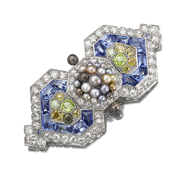 An Art Deco Natural Pearl, Sapphire and Diamond Brooch, by Cartier, circa 1926