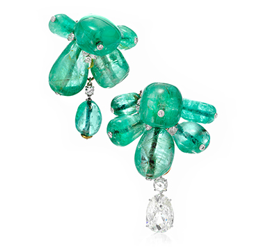 A Pair of Emerald and Diamond Clip Brooches, by Cartier