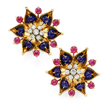 A Pair of Retro Sapphire, Ruby and Diamond Ear Clips, by Cartier, circa 1940