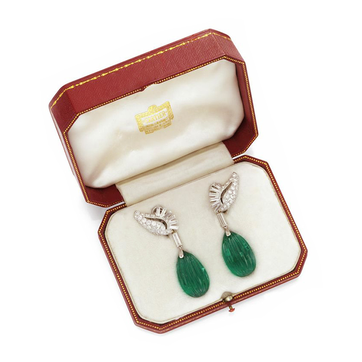 A Pair of Fluted Emerald and Diamond Ear Pendants, weighing approximately 70.00 carats, by Cartier, circa 1960