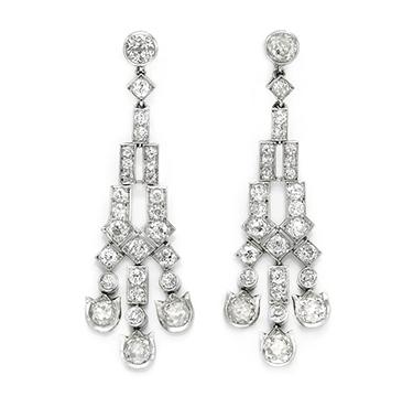 A Pair of Art Deco Diamond Ear Pendants, by Cartier, circa 1915