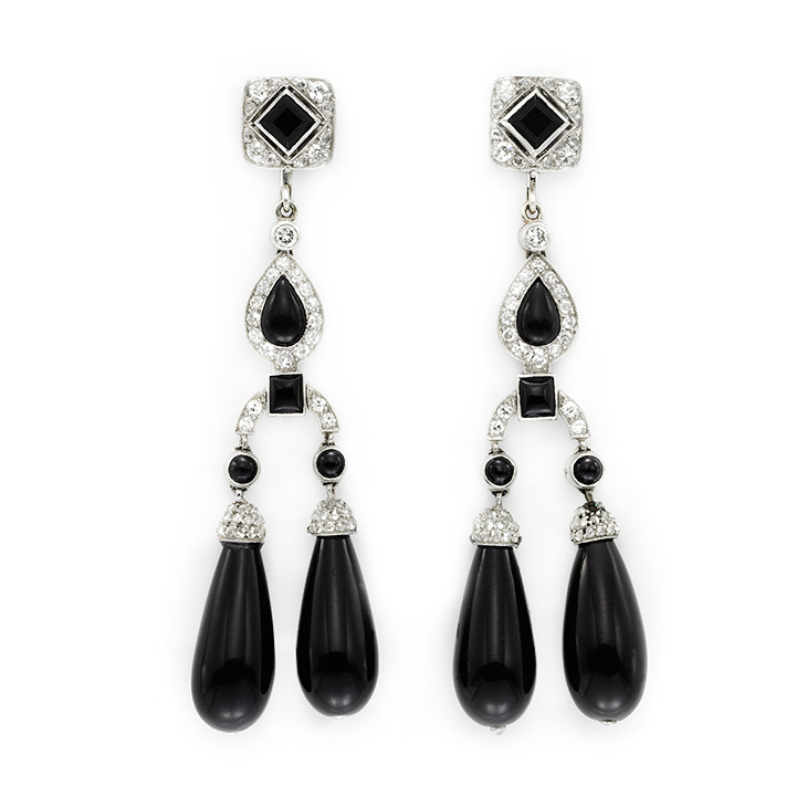 A Pair of Art Deco Onyx and Diamond Ear Pendants, by Cartier, circa 1925