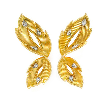 A Pair of Gold and Diamond Leaf Ear Clips, by Cartier, circa 1950