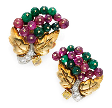A Pair of Retro Emerald, Ruby and Diamond Ear Clips, by Cartier, circa 1940