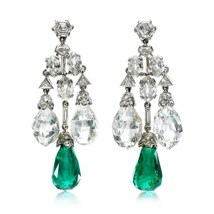 A Pair of Art Deco Emerald and Diamond Ear Pendants, by Cartier, circa 1928