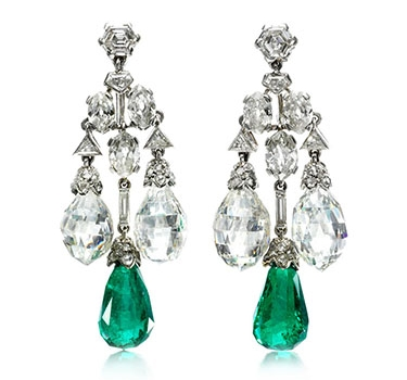 A Pair Of Art Deco Emerald And Diamond Ear Pendants, By Cartier, Circa 1928