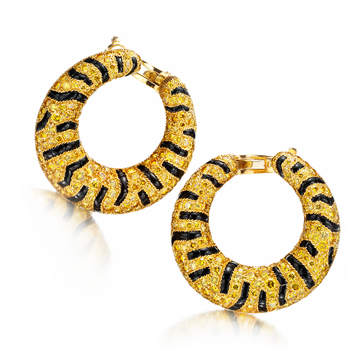 A Pair of Colored Diamond and Onyx Tiger Ear Clips, by Cartier, circa 1987