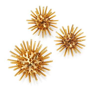 A Set of Gold 'Sputnik' Jewelry, Ear Clips and Booch, by Cartier, circa 1960