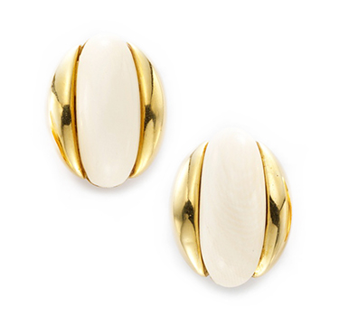 A Pair of Ivory and Gold Ear Clips, by Cartier, circa 1960