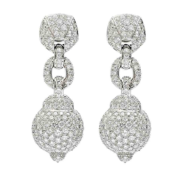 A Pair of Diamond Ear Pendants, by Cartier