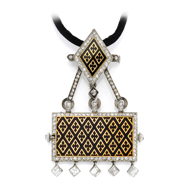 An Art Deco Enamel, by Cartier, Gold and Diamond Watch Pendant Necklace, circa 1920