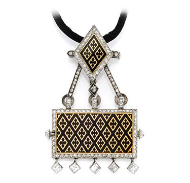 An Art Deco Enamel, Gold and Diamond Watch Pendant Necklace, by Cartier, circa 1920