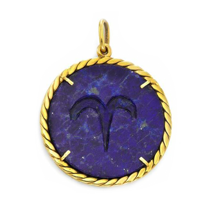 A Lapis and Gold Zodiac Pendant, by Cartier