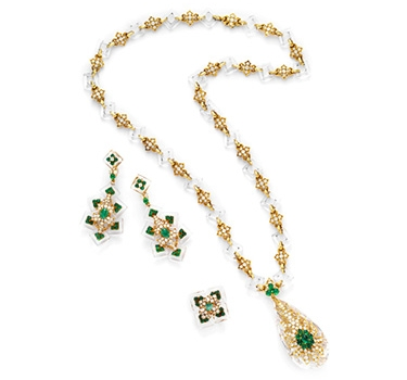 A Rock Crystal, Emerald And Diamond Sautoir And Ear Pendants, By Cartier