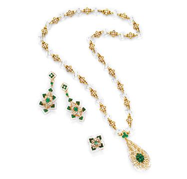 A Rock Crystal, Emerald and Diamond Sautoir and Ear Pendants, by Cartier